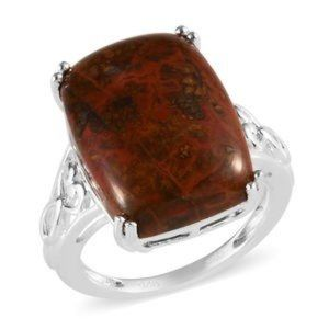 10.00ctw Redseam Agate Ring in Sterling Silver sz9